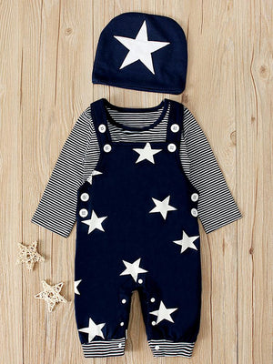 Stars & Stripes - Baby & Toddler Dungarees, Long Sleeve Top & Beanie Hat - 3 Piece Set - Stylemykid.com