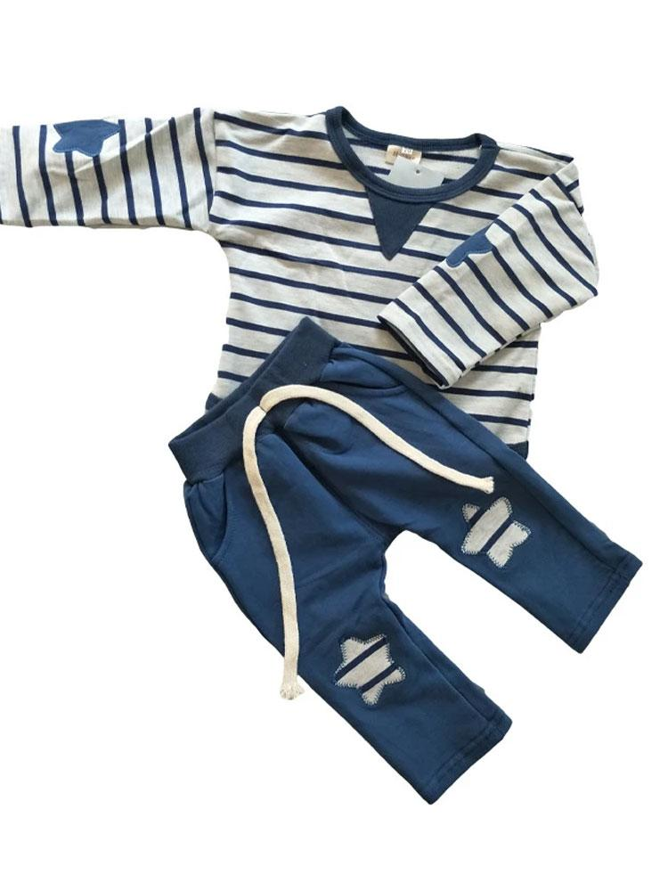Stars & Stripes Tracksuit with Long Sleeve top - Blue and white  0-24 months - Stylemykid.com