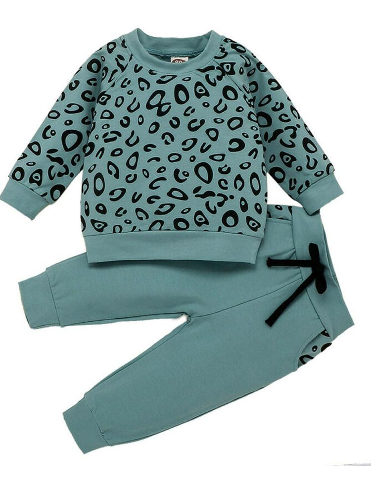 Girls Steel Blue 2 Piece Tracksuit Set - Sweatshirt Top & Bottoms - Animal Print - Stylemykid.com