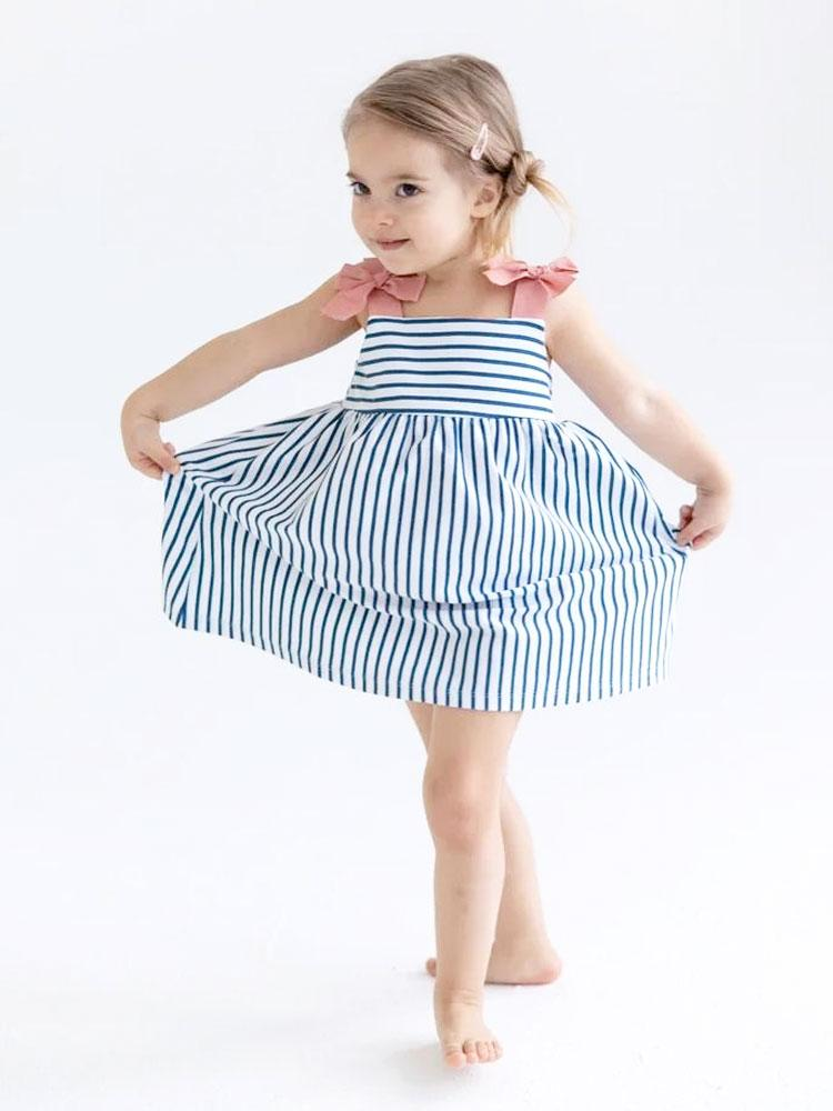 Blue and White Striped Strappy Bow Dress Baby and Girl Dress - Stylemykid.com