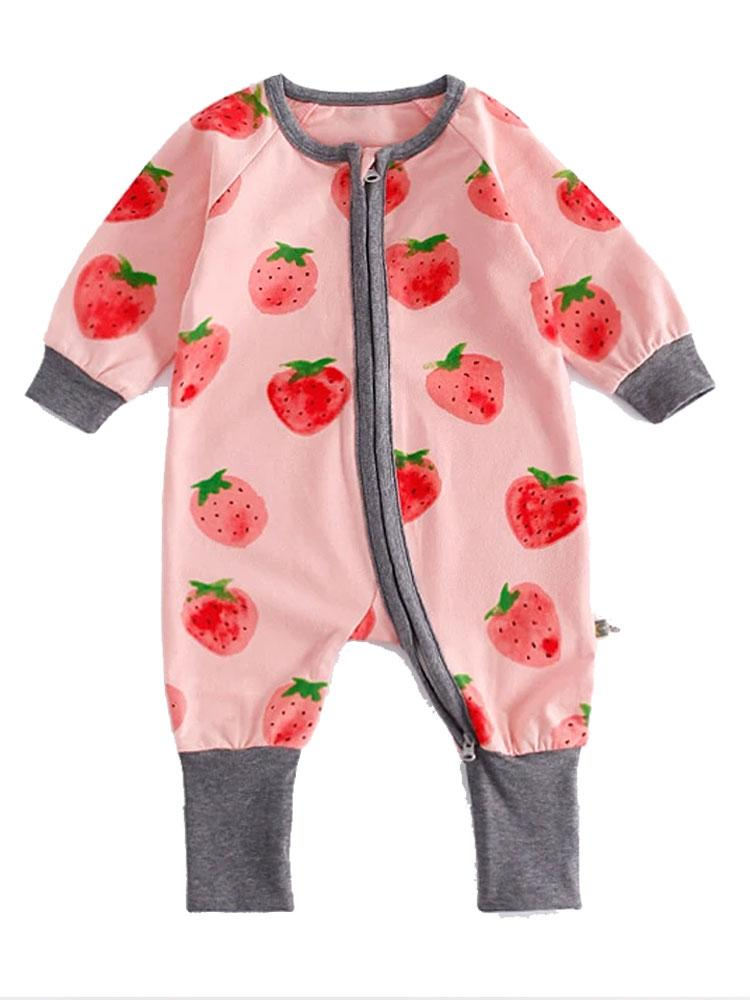 Strawberry Delight - Pink Onesie with Strawberry Design - Stylemykid.com