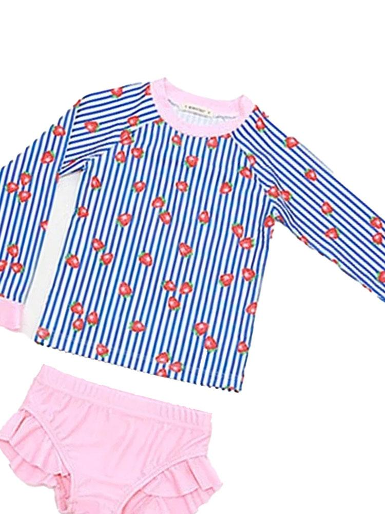 Strawberry Stripe Girls Swimming Costume - Stylemykid.com