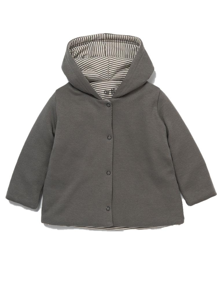 Artie - Stripes Grey Hooded Jacket - Stylemykid.com