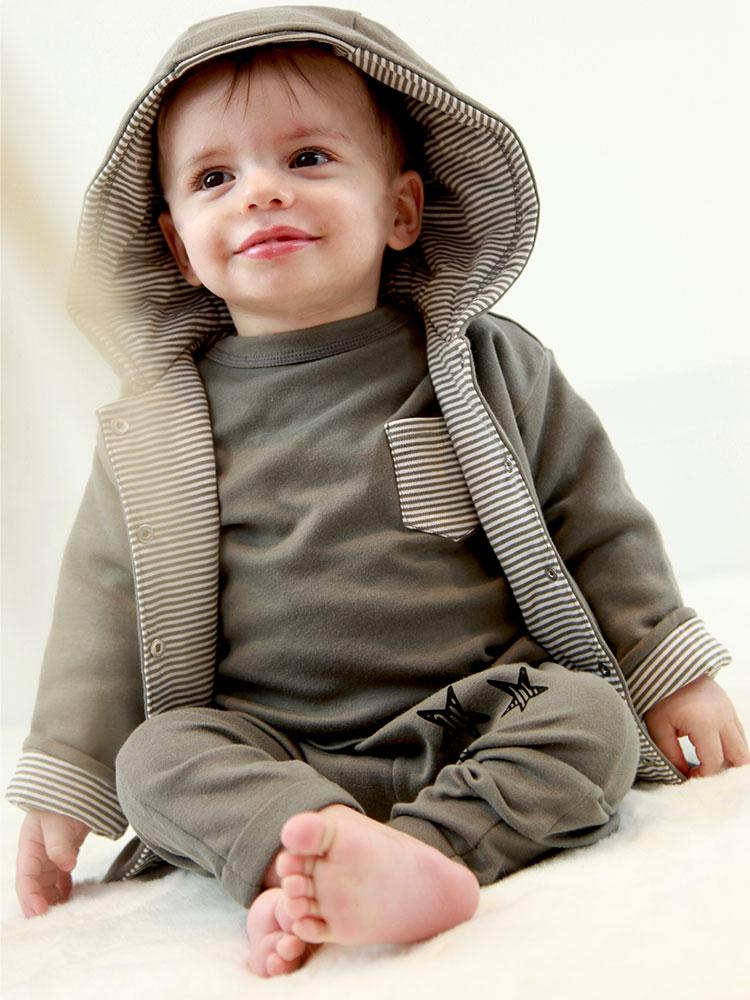 Stripes Grey Jacket - Unisex 0 to 12 months - Stylemykid.com