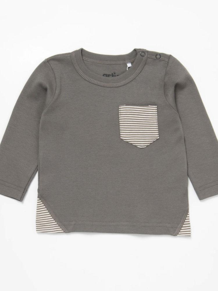 Artie - Stripes Grey Long Sleeve T-shirt Unisex Top - Stylemykid.com