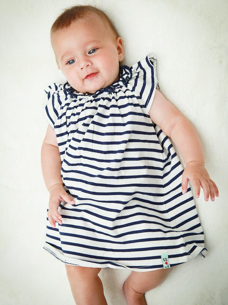 Lilly & Sid Organic Pretty Gathered Striped Navy & White Baby Girl Dress - Stylemykid.com