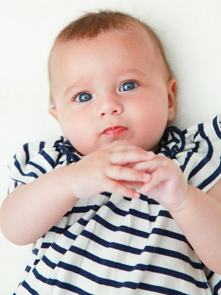 Lilly & Sid Organic Striped Navy & White Baby Girl Dress - Stylemykid.com