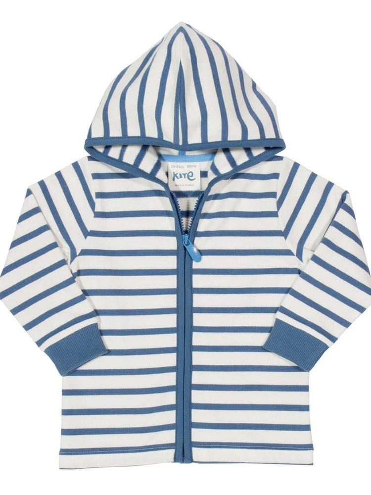 Super Stripes White and Blue zipped KITE Organic Hoody - Stylemykid.com