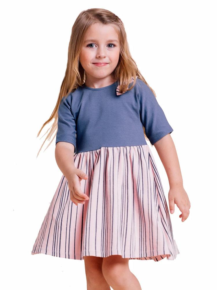 Artie - Girls Blue and Pink Dress with Navy Stripes - Stylemykid.com