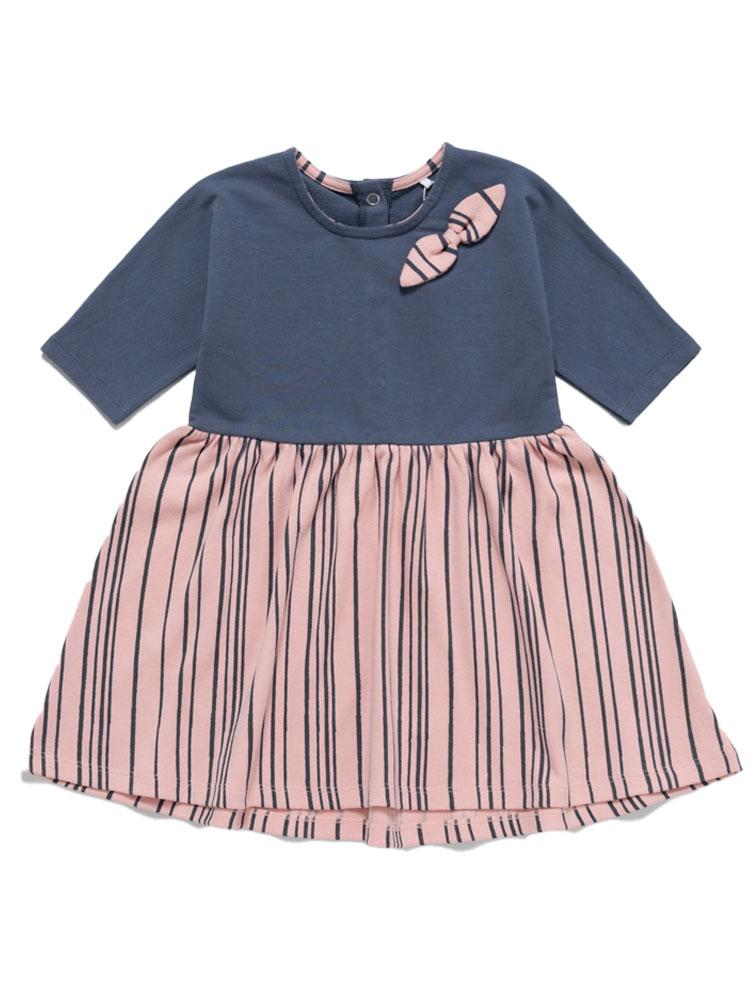 Super Stripey Dress -  Girls Blue and Pink Dress with navy stripes - 6 months to 4 years - Stylemykid.com