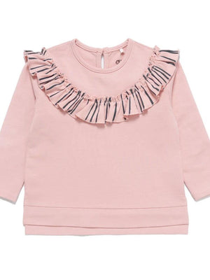 Artie - Super Stripey Girls Frill Sweatshirt in Pink and Navy - Stylemykid.com
