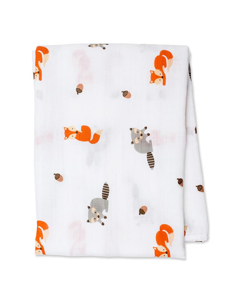 Lulujo - Large Muslin Swaddle - Forest Friends - Stylemykid.com