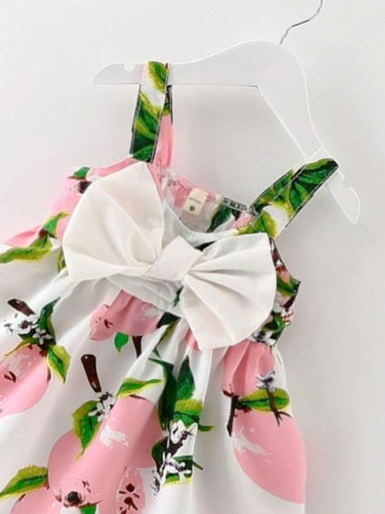 Sweet Little Bow Girls Summer Dress - Pink - Stylemykid.com