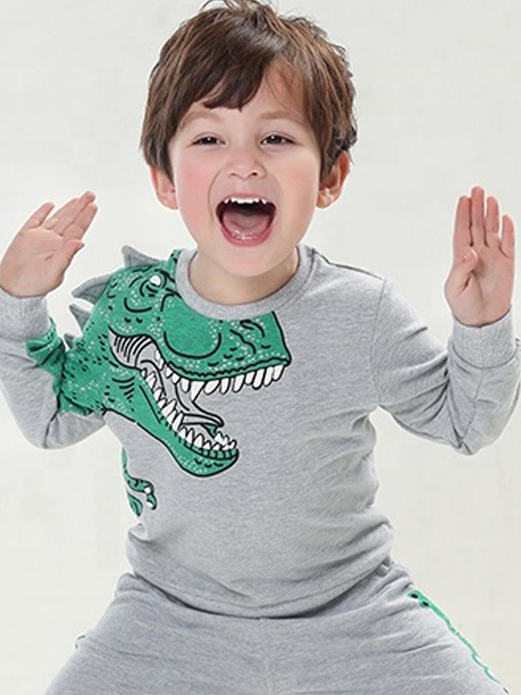 Spikes Out - Boys Roaring Grey and Green T-Rex Dinosaur Sweatshirt - Stylemykid.com