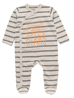 Artie - Take me to the Stars Striped Unisex Footed Baby Sleepsuit 6-12 months - Stylemykid.com