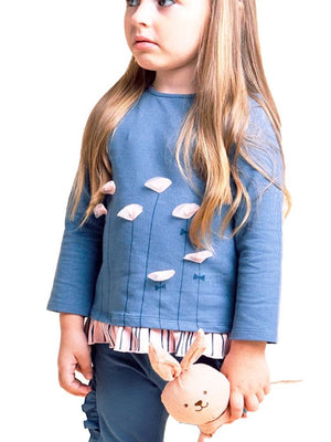 Artie - Tall Flowers Tee - Girls Blue Long Sleeved Tee with Pink Flower Design - Stylemykid.com