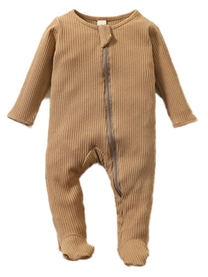 Tan Footed Ribbed Baby Zip Sleepsuit - 0-6 months - Stylemykid.com