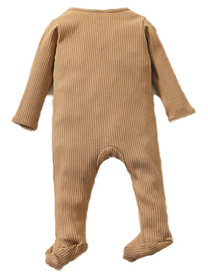 Tan Footed Ribbed Zippy Baby Sleepsuit - 0-6 months - Stylemykid.com