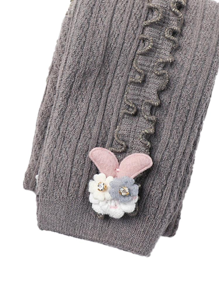 Grey Flower Frills Bunny Footless Girls Tights/ Leggings - Stylemykid.com