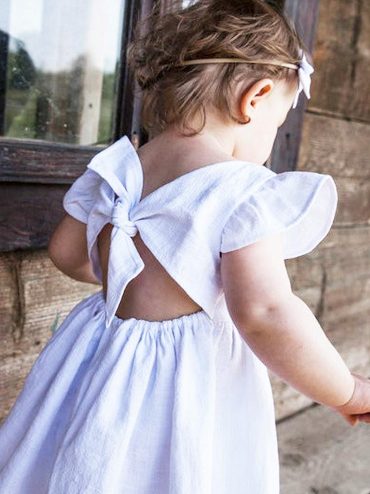 White Tie Bow Back Girls Party Dress - Stylemykid.com