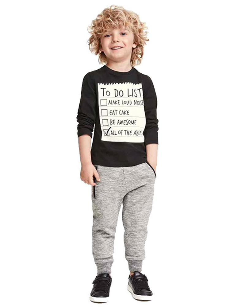 Boys 2 Piece Tracksuit - Sweatshirt Top & Bottoms - To Do List Detail - Stylemykid.com