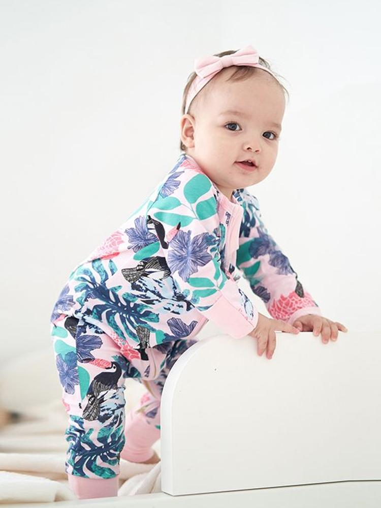 Pink Toucan Foreset - Pink Baby Zip Sleepsuit with Hand & Feet Cuffs - Stylemykid.com