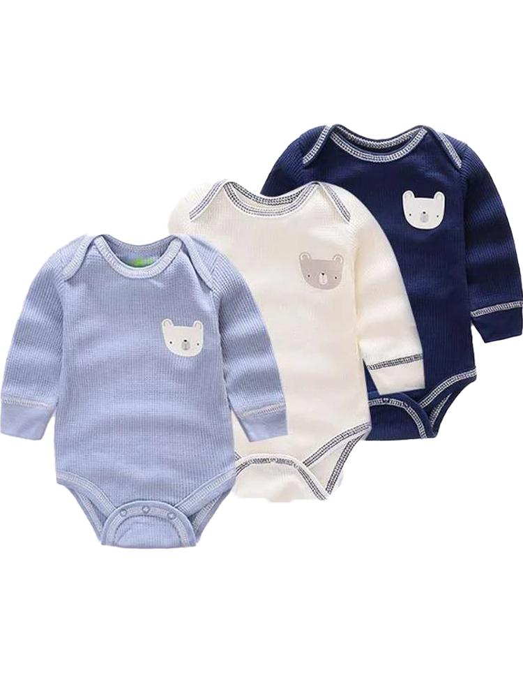 Triple Pack Long Sleeve Blues Teddy Bear Baby Bodysuits - Stylemykid.com