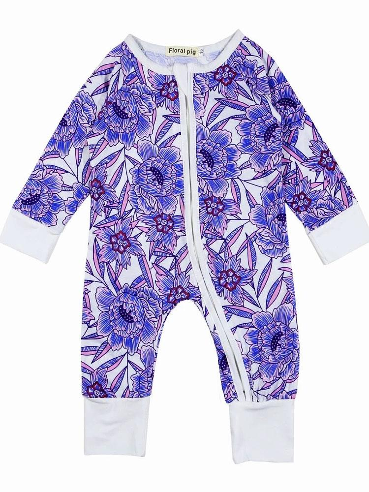 Tropical Garden - Purple and White Onesie with Double Zip and Cuffs Detail - Stylemykid.com