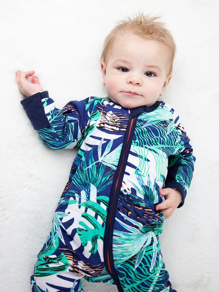 Turquoise Tropical Zippy Baby Sleepsuit with Hand & Feet Cuffs - Stylemykid.com