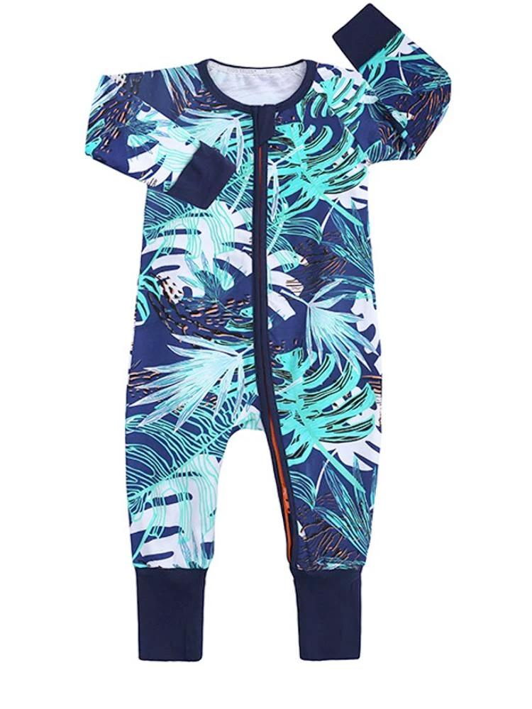Turquoise Tropical Baby Zip Sleepsuit with Hand & Feet Cuffs - Stylemykid.com