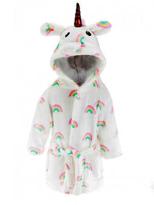 Rainbow Unicorn Soft Touch Hooded Dressing Gown  - 6 Months to 2 Years - Stylemykid.com