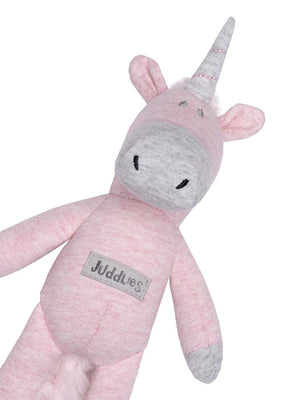 Juddlies - Baby Soft Toy Rattle Comforter - Organic Dogwood Pink Unicorn - Raglan Collection - Stylemykid.com