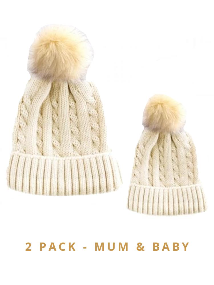 Mummy & Baby Matching Faux Fur Pom Pom Cable Knit Hats - Beige/ Beige Pom 2 Hat Pack - Stylemykid.com