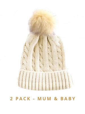 Mummy & Baby Matching Faux Fur Pom Pom Cable Knit Hats - Beige/ Beige Pom 2 Hat Pack