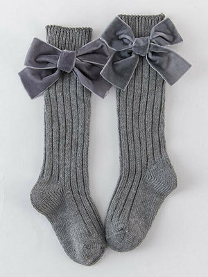 Girls Velvet Bow Long Socks - Dark Grey - Stylemykid.com