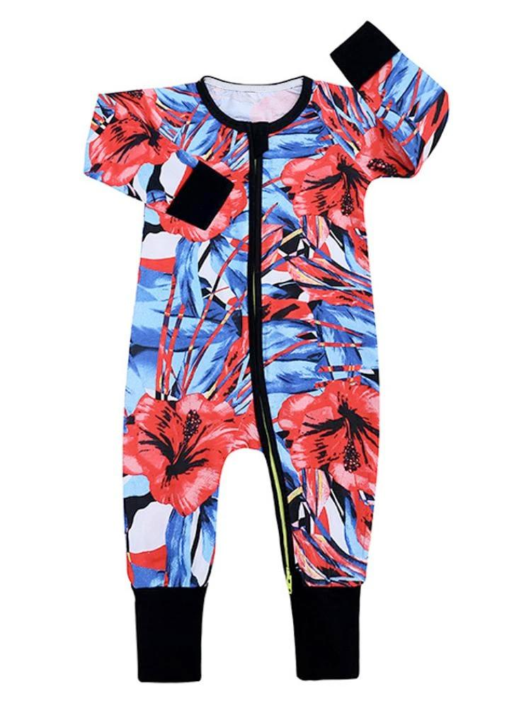 Vibrant Hibiscus Baby Zip Sleepsuit with Hand & Feet Cuffs - Stylemykid.com