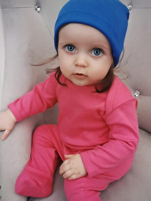 Bright Cerise Pink Footed Rompersuit - Stylemykid.com
