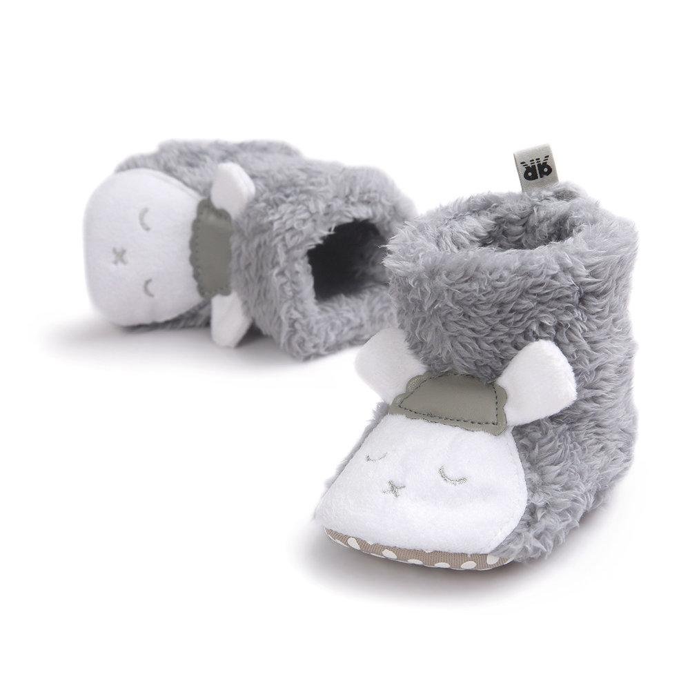 Lamb Cuddles Slippers in Grey and White with 3D Ears - Stylemykid.com