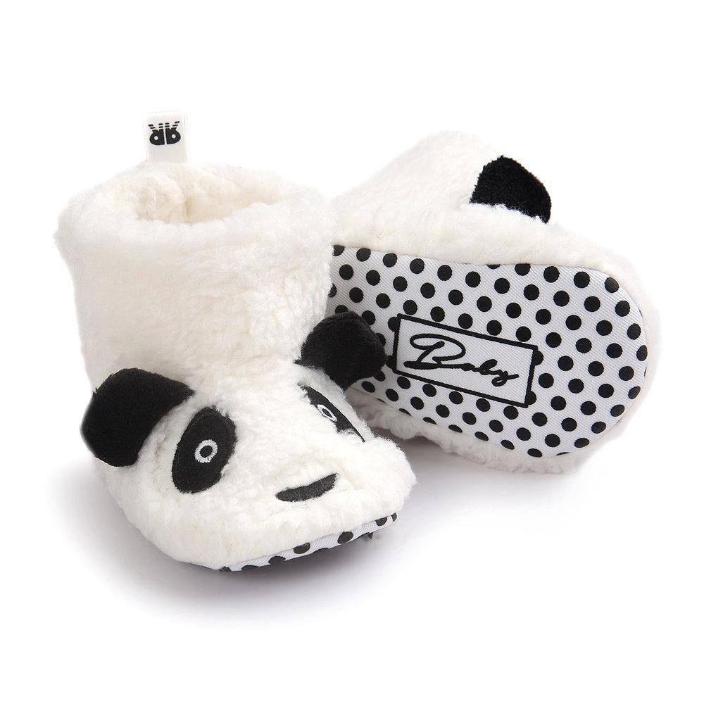 Panda Cuddles Slippers - White with Panda Face and 3D Ears - Stylemykid.com