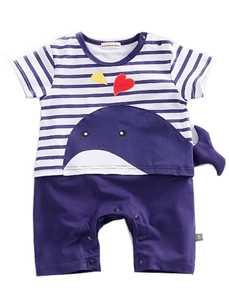 Whale Tail Romper - Blue and White All in One Romper with 3D Tail - Stylemykid.com