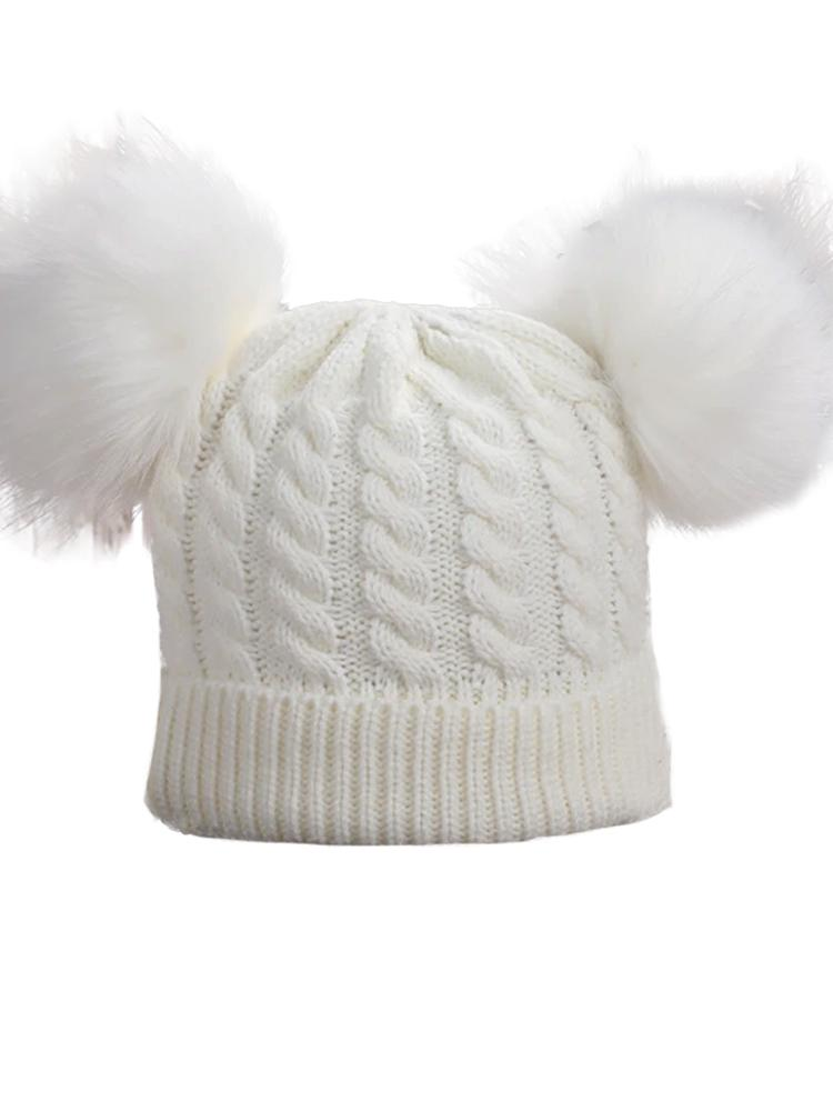Winter White Double Bobble Woollen Pom Pom Kids Hat - 0 -3 years - Stylemykid.com