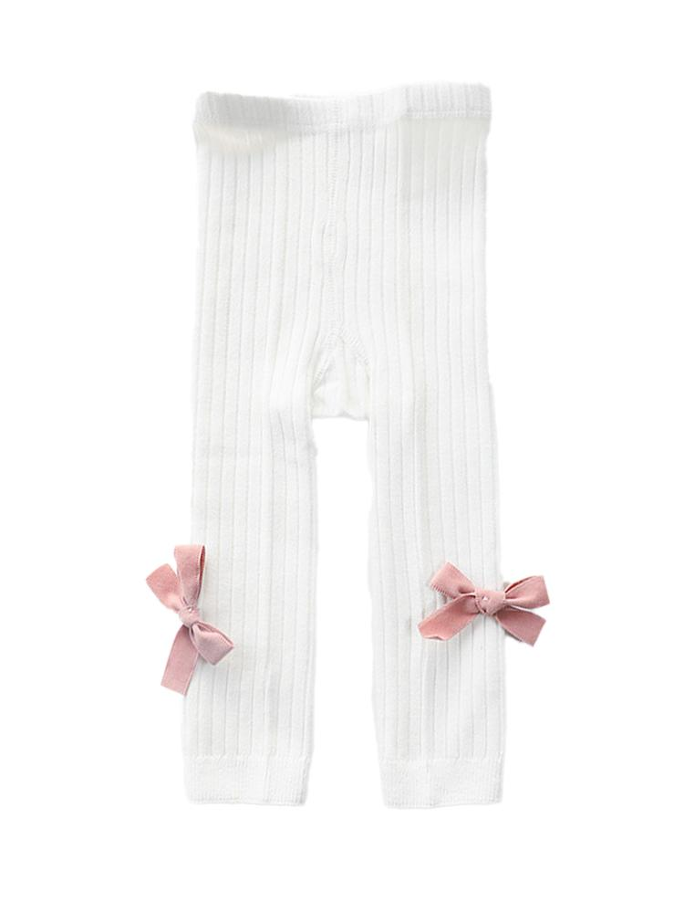 White Ribbon Bow Ribbed Footless Girls Tights/ Leggings - Stylemykid.com