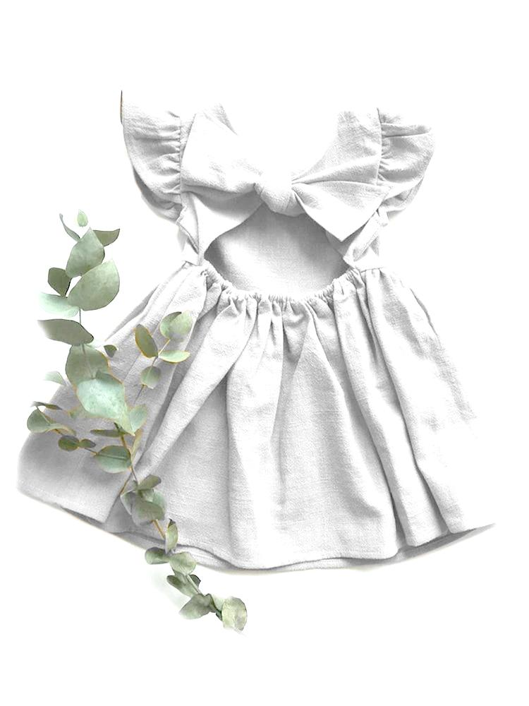White Tie Bow Back Girls Party Dress
