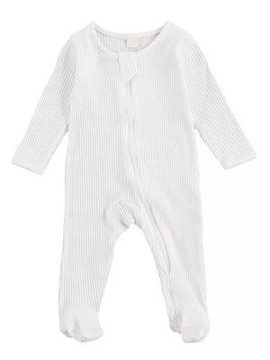 White Footed Ribbed Zippy Baby Sleepsuit - 0-6 months - Stylemykid.com