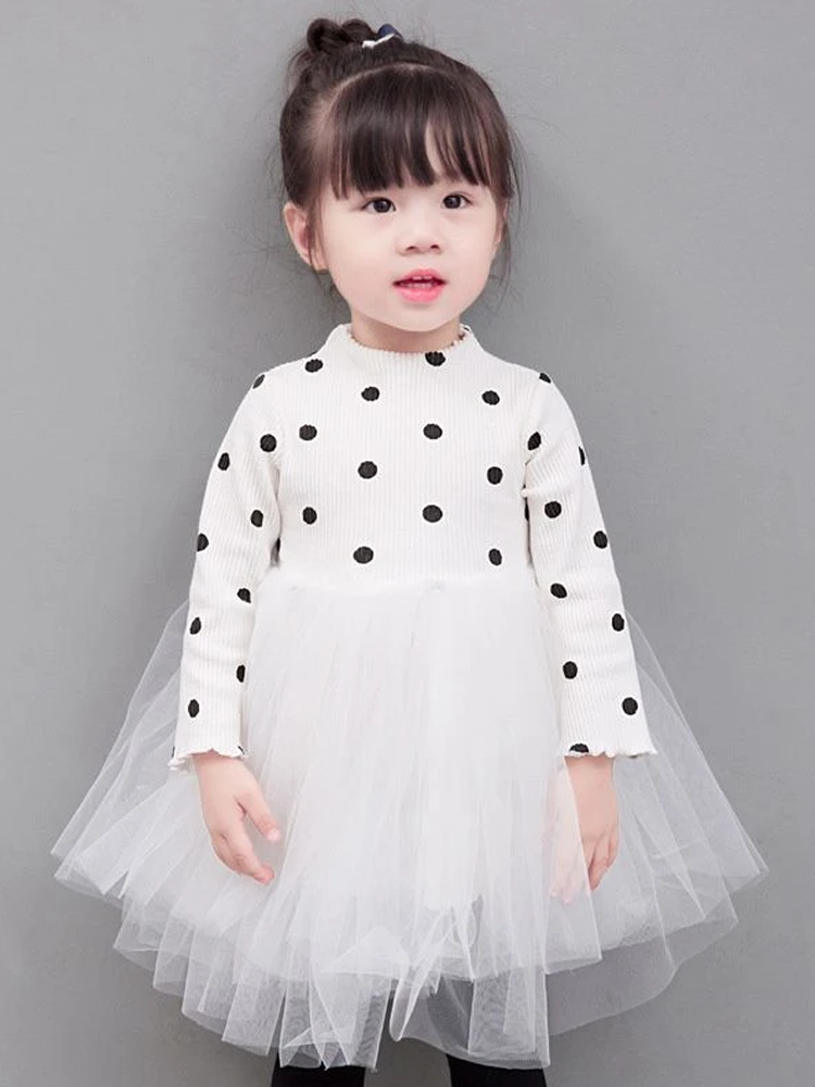 White Girls Polka Dot Party Tutu Dress - Stylemykid.com