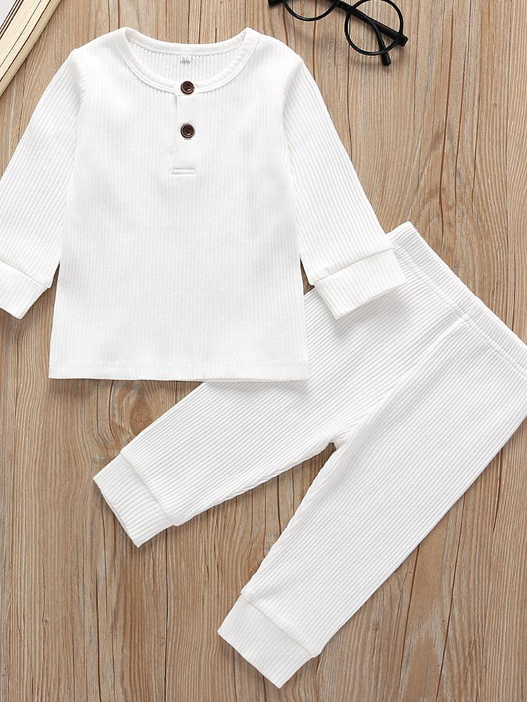 Baby/Toddler White Matching 2 Piece Ribbed Button Top & Bottoms Lounge Outfit - Stylemykid.com