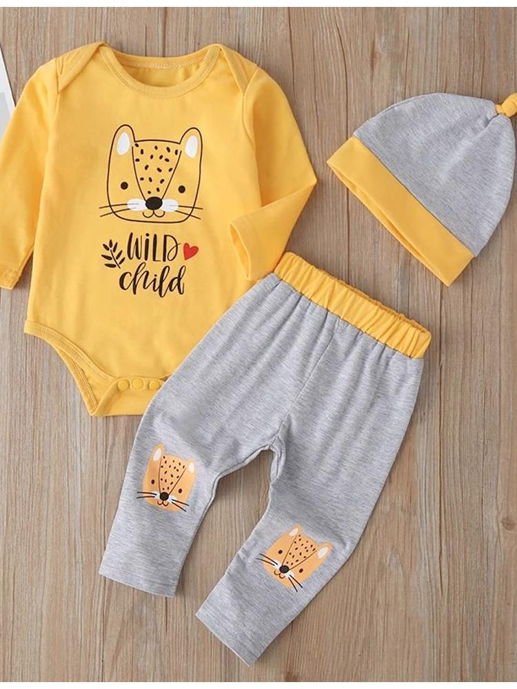 Yellow and Grey 3-piece Bodysuit & Pants & Hat for Baby - WILD CHILD - Stylemykid.com