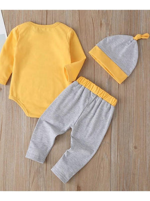 Yellow and Grey 3-piece Animal Pattern Bodysuit & Pants & Hat for Baby - WILD CHILD - Stylemykid.com