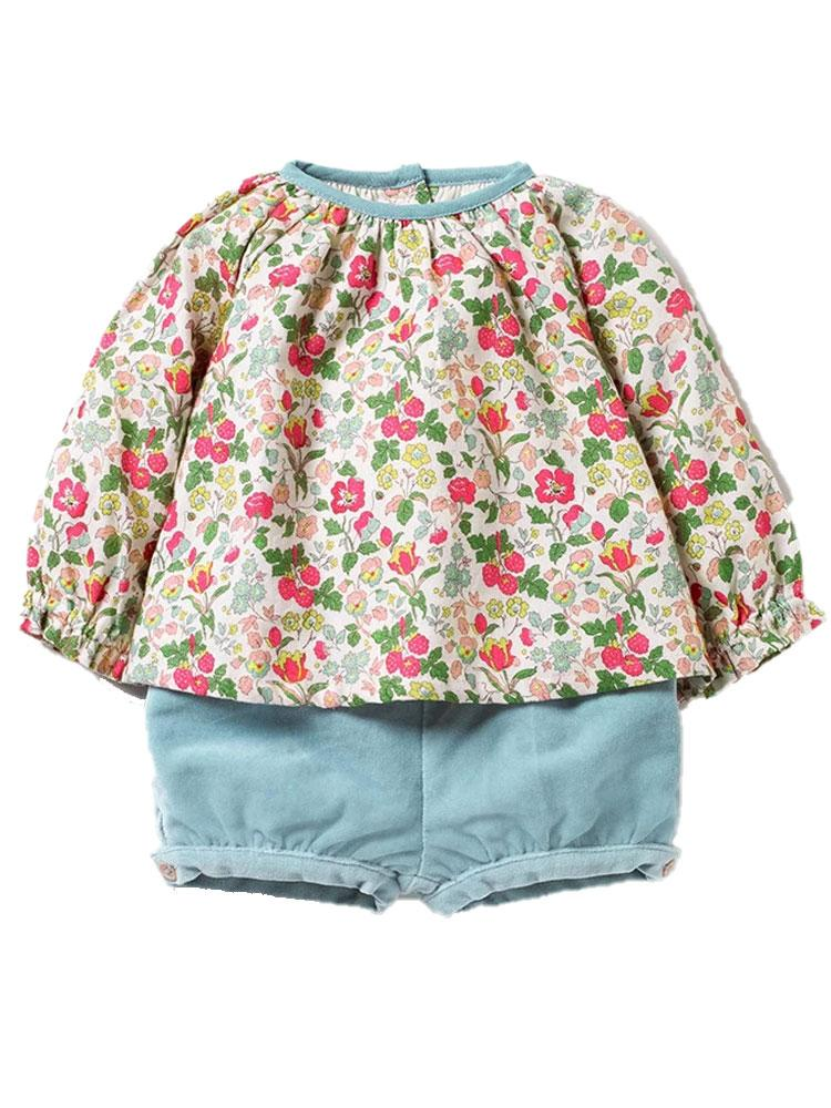 Winter Blossom Set with Floral Long Sleeve Top & Blue Shorts - Girls 18 months to 7 years - Stylemykid.com
