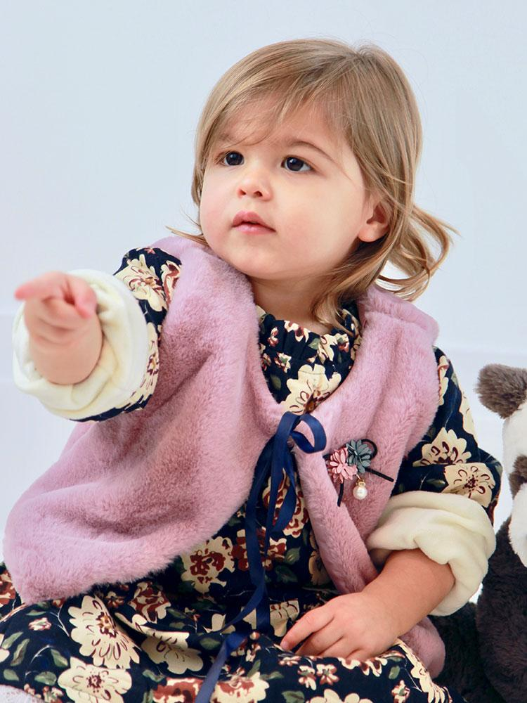 Winter Floral Dress & Dusky Pink Faux Fur Gilet Set - 6 months to 3-4y - Stylemykid.com